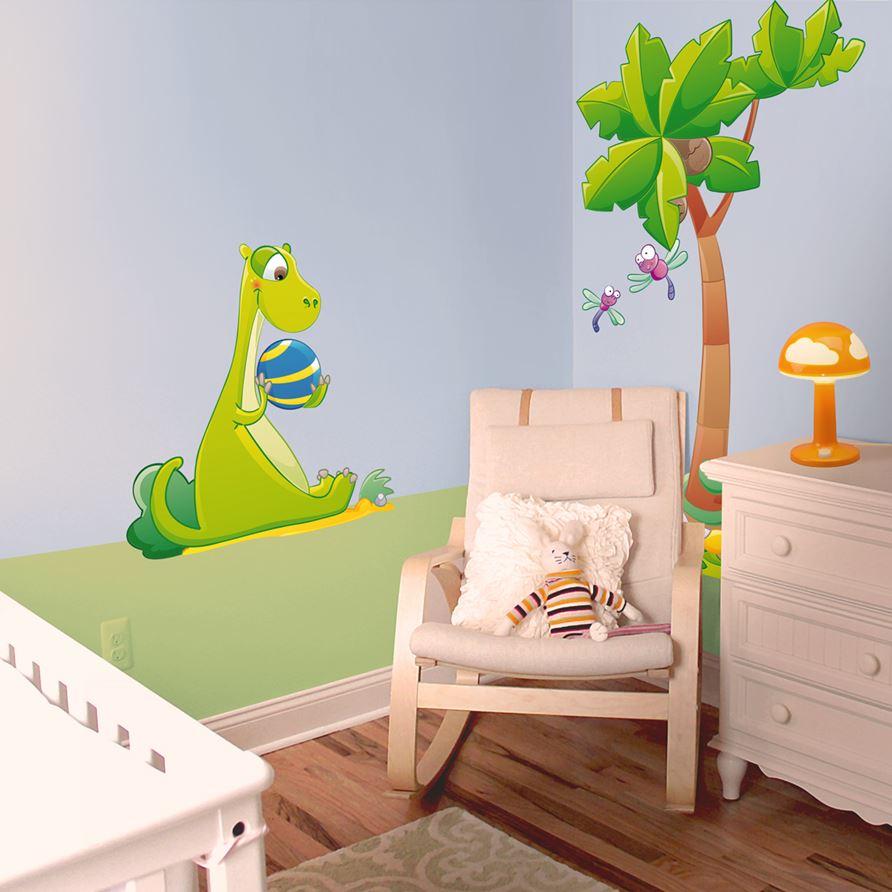 Adesivi murali dinosauro verde leostickers - Stickers cameretta bambino ...